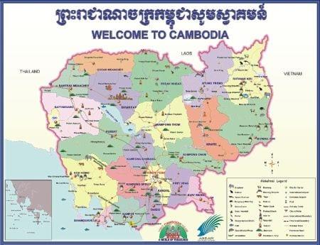 Детальная карта провинций Камбоджи