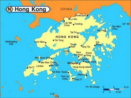 на карте показана граница Гонконга с Китаем