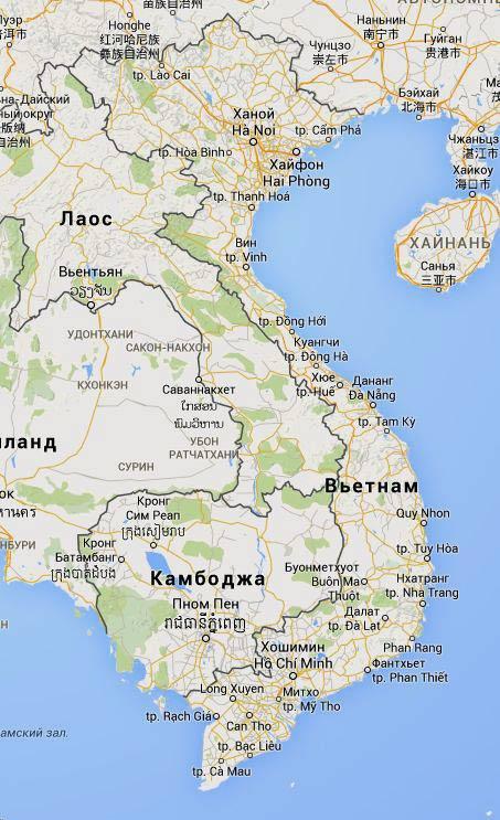 Карта Вьетнама и соседей