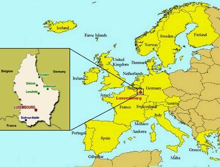 карта расположения Люксембурга