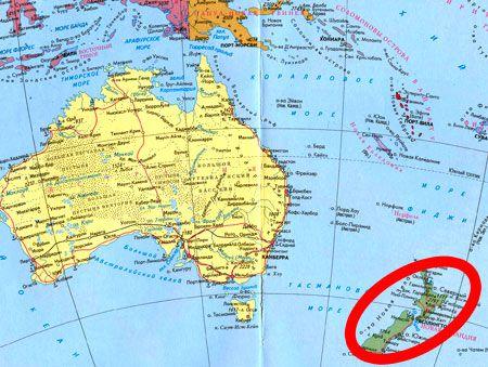 расположение Новой Зеландии