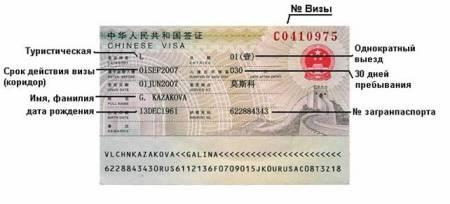 однократная китайская виза