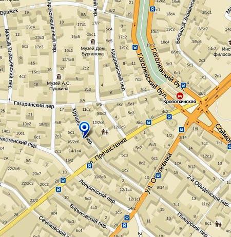 Карта расположения посольства Люксембурга в Москве