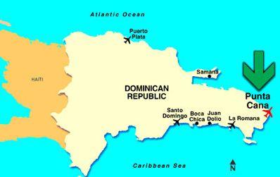 Пунта Кана на карте Доминиканы