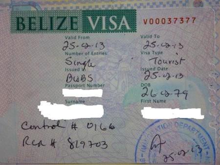 виза в Белиз при въезде