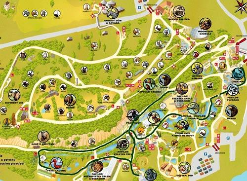 Схема зоопарка в Праге