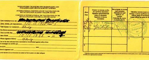сертификат от лихорадки