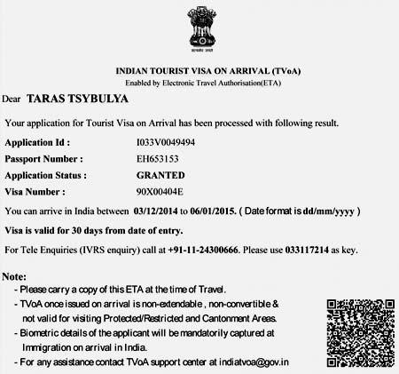 индийское электронное разрешение