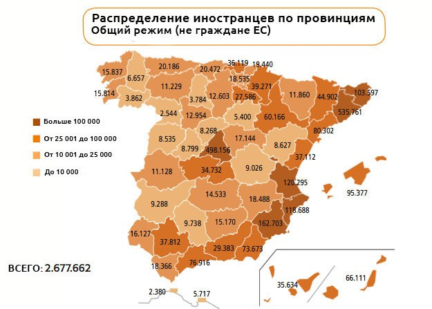 Иностранцы в провинциях Испании
