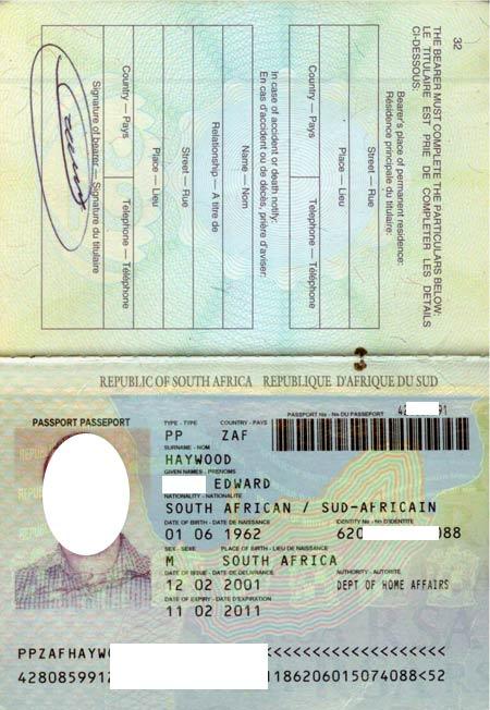 паспорт южно-африканской республики