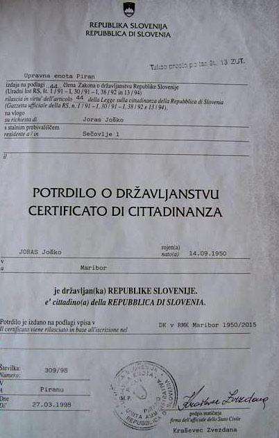 сертификат о гражданстве