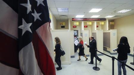 на собеседовании в посольстве США