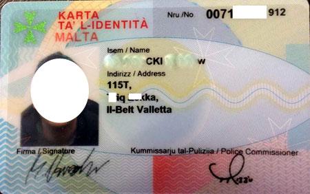 мальтийское удостоверение личности
