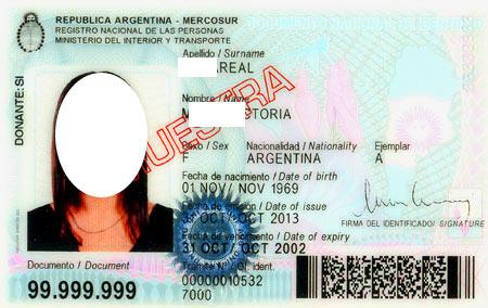 удостоверение личности в Аргентине