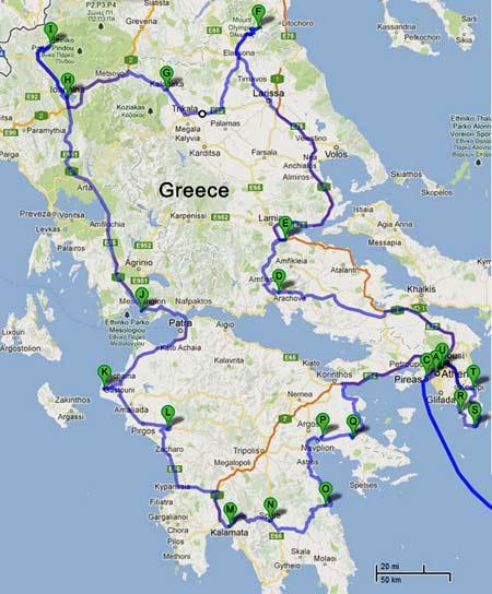 маршрут поездки по Греции