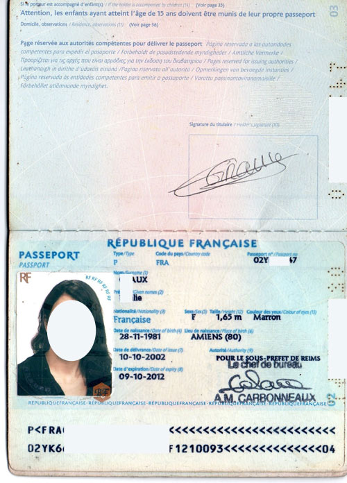 фрунцузский паспорт