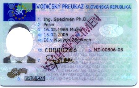 водительские права в Словакии