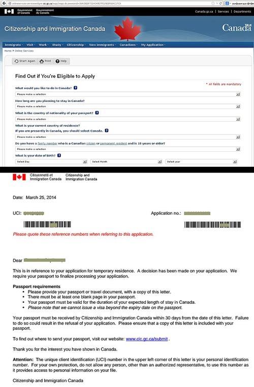 анкета для получения канадской визы