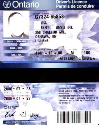 водительское удостоверение в Канаде