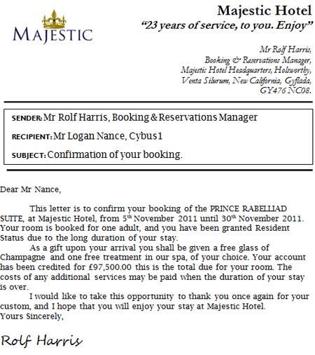письмо из отеля