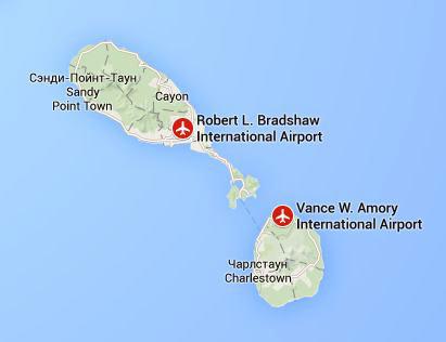 аэропорты на Сент-Китс и Невис