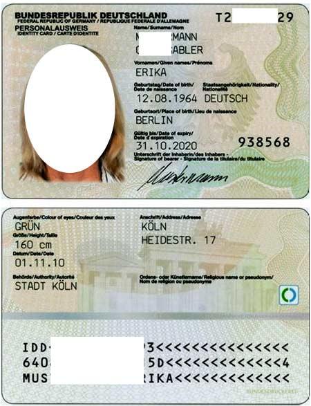 id карточка в Германии