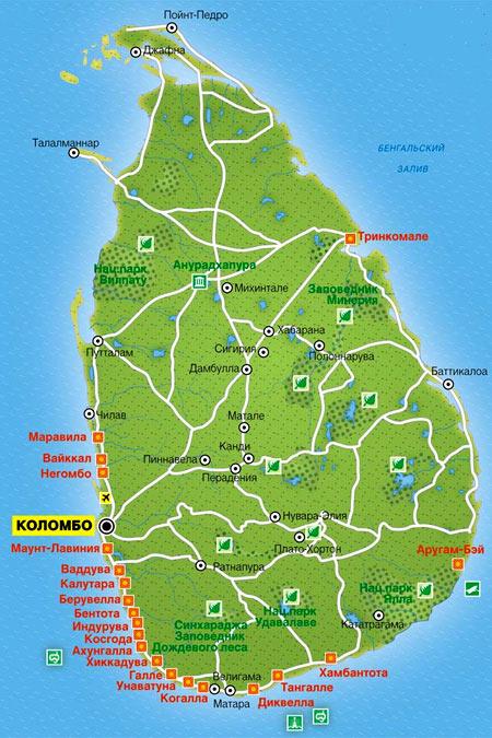 карта Шри-Ланки