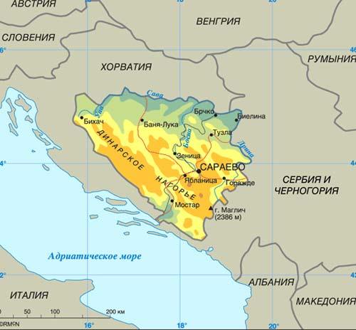 карта Боснии