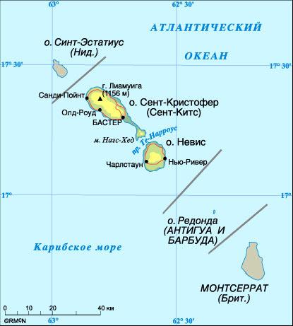 карта Сент-Китс и Невис