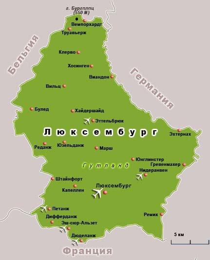 карта Люксембурга
