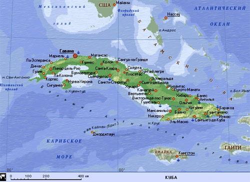 Карта острова Кубы