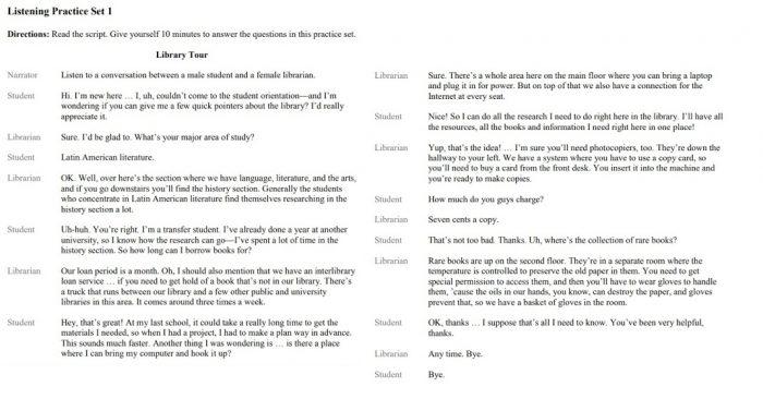 Транскрипт текста для Listening на экзамене TOEFL