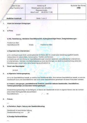 Выписка из торгового реестра (Handelsregister)