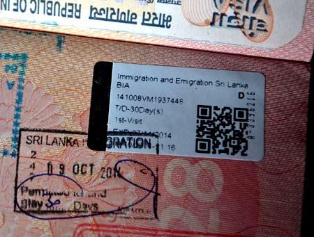 шри ланкийская виза