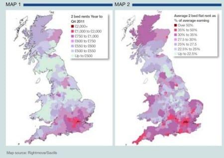 Стоимость аренды жилья в Великобритании по регионам
