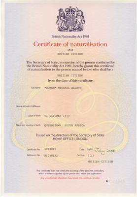 Сертификат натурализации