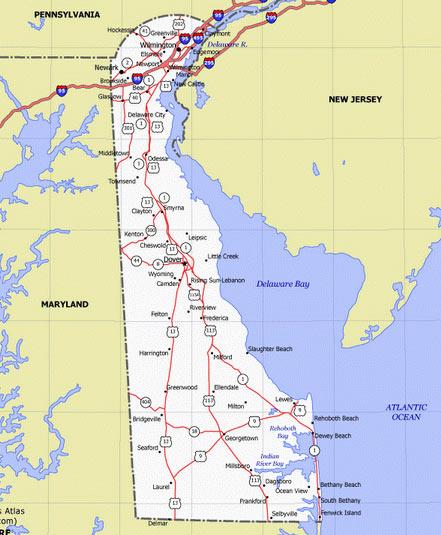Карта Делавэр