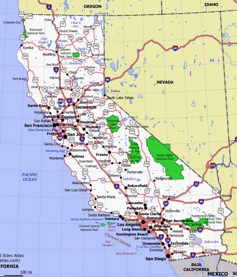 Карта Калифорнии