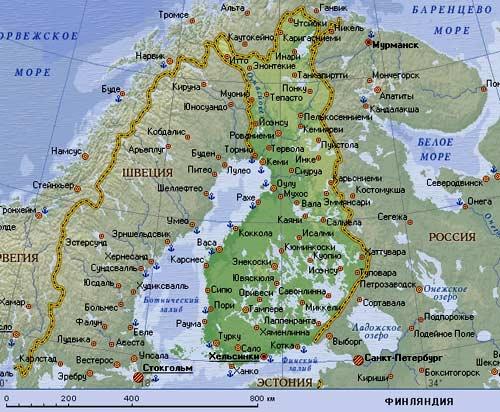 карта Финляндии