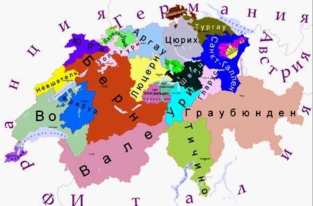 карта Швейцарии