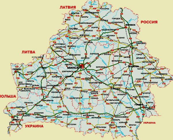 карта Республики Беларусь