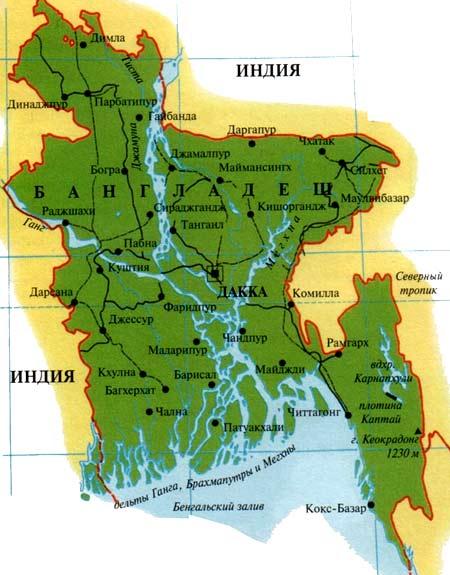 карта Бангладеш