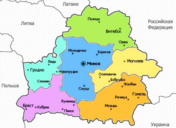 Карта Беларуссии