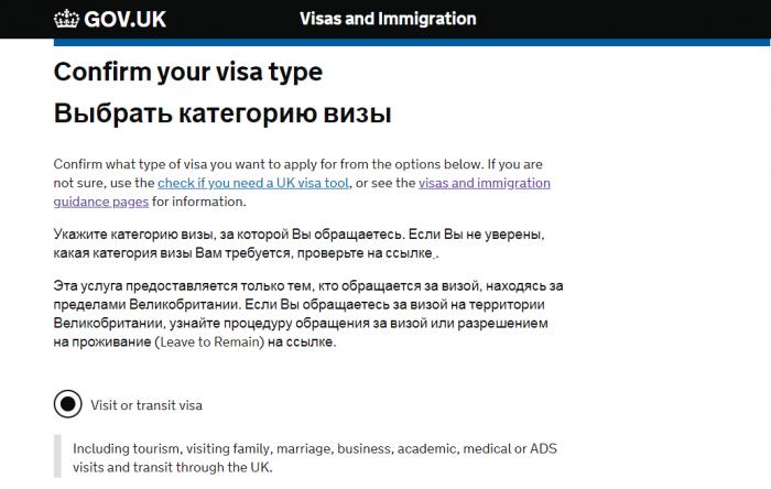 Выбор типа визы