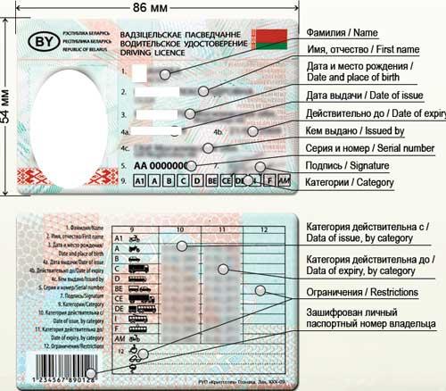 белорусское водительское удостоверение