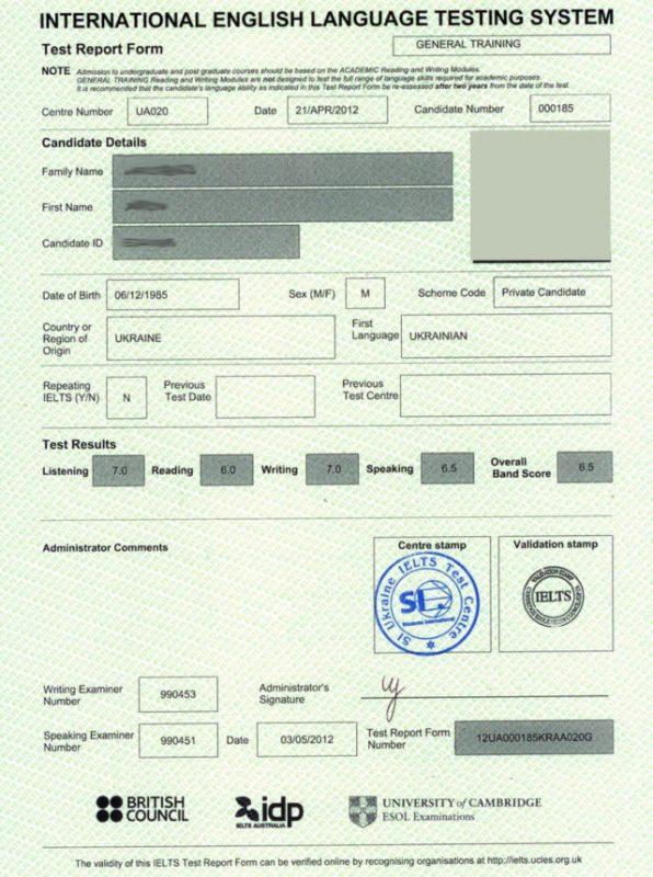 Сертификат на знание языка