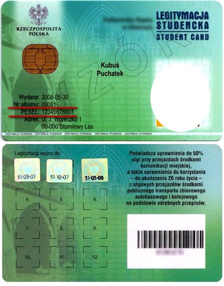 студенческое удостоверение в Польше