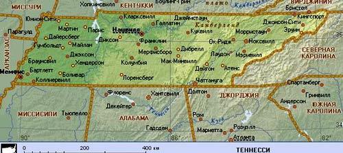 карта Теннеси
