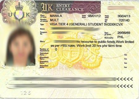 Образец визы Tier 4 «General Student»