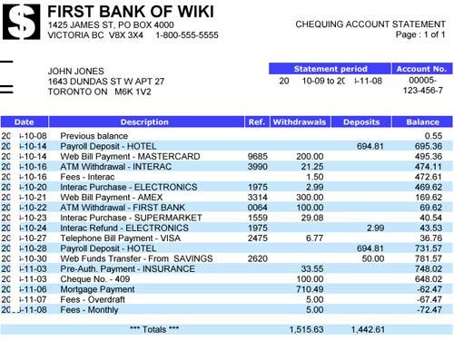 банковская выписка